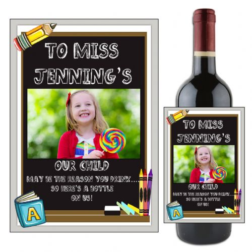 Personalised School Teacher Gift Chalkboard Wine Champagne Bottle Label N105